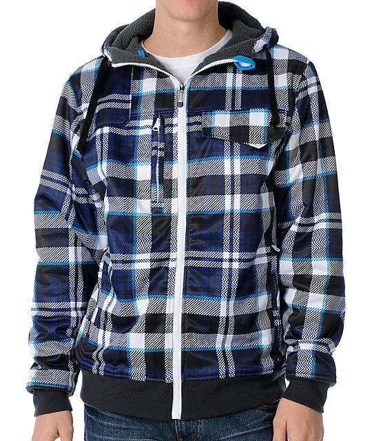 Empyre Fleet Blue Plaid Tech Fleece Jacket
