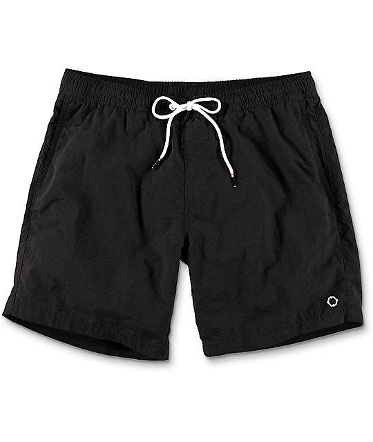 Empyre Floater Black Nylon Elastic Waist Board Shorts