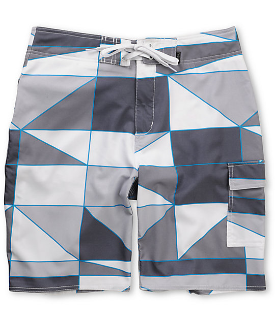 Empyre Fracture White Geo 4-Way Stretch Board Shorts