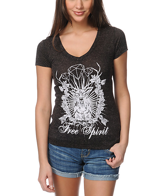 Empyre Free Spirit Heather Black V-Neck T-Shirt