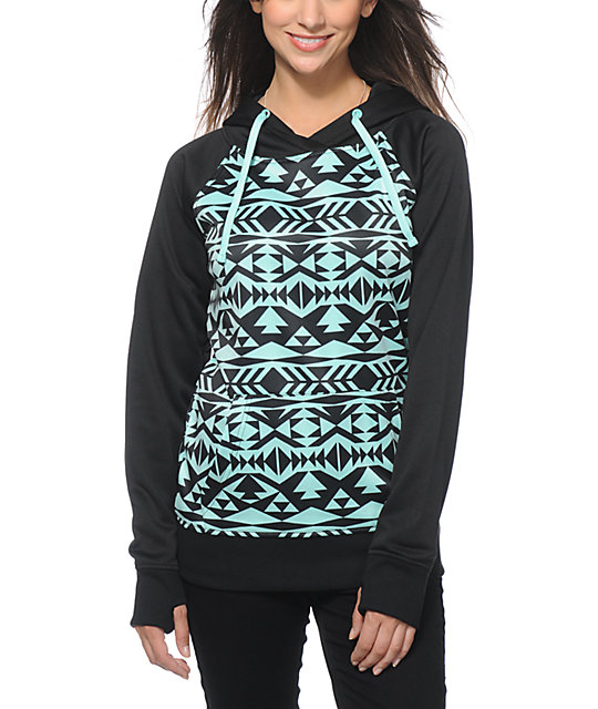 Empyre Frosty Black & Mint Tribal Tech Fleece Hoodie