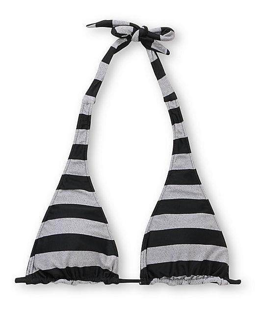 Empyre Gable Black & Grey Stripe Halter Bikini Top