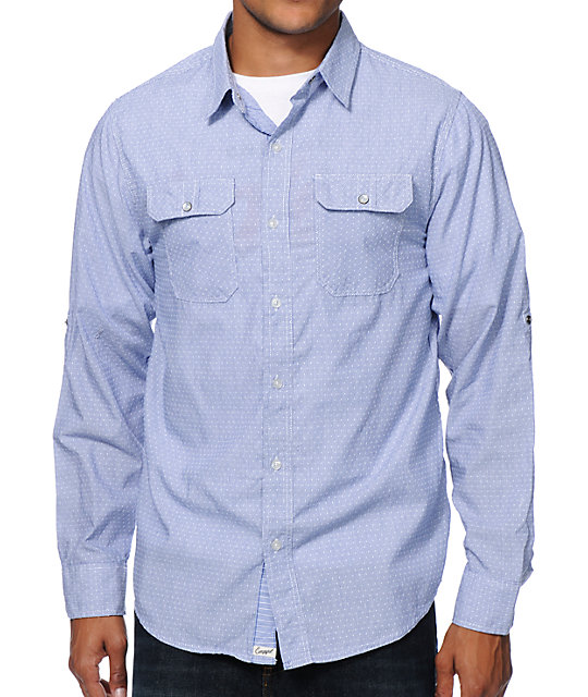 Empyre Gambino Blue Dobby Long Sleeve Button Up Shirt
