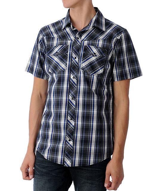 Empyre Gaucho Black & Blue Woven Shirt
