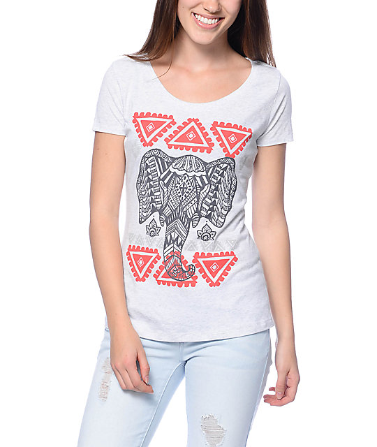 Empyre Geo Elephant Head White Scoop T-Shirt