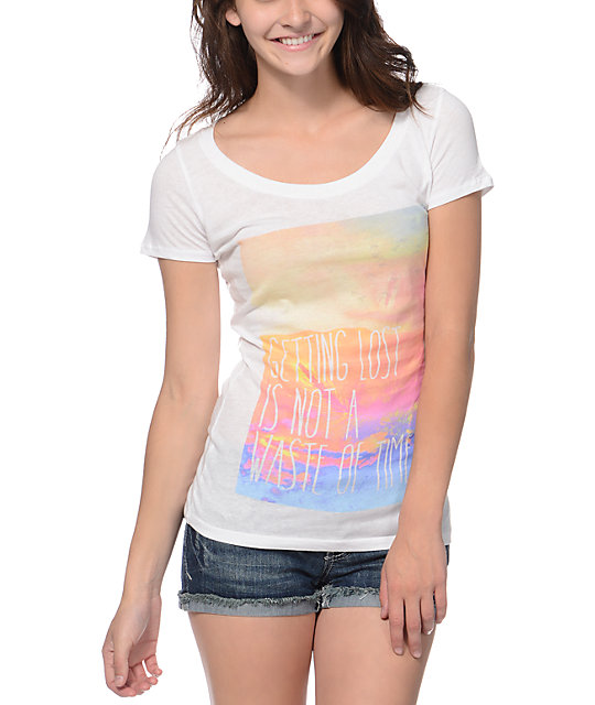 Empyre Getting Lost White Scoop Neck T-Shirt