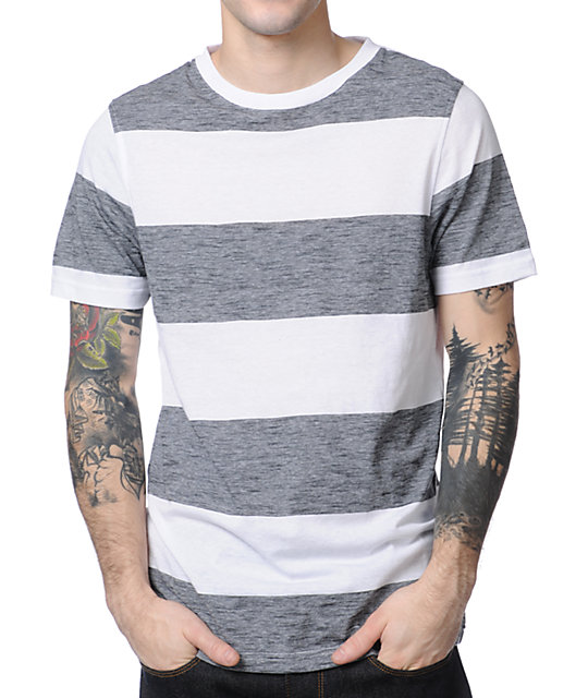 Empyre Ghostly White & Grey Stripe T-Shirt
