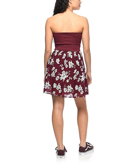 Empyre Gina Burgundy Floral Strapless Dress