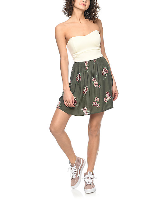 Empyre Gina Cream & Olive Floral Strapless Dress