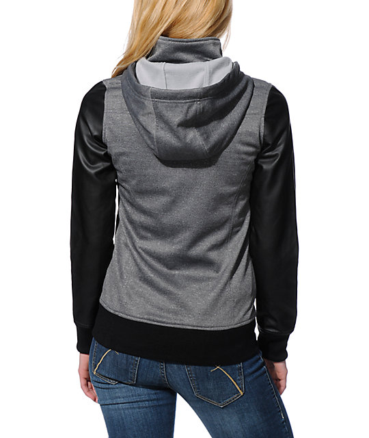 Empyre Girl Cici Charcoal & Black PU Tech Fleece Jacket