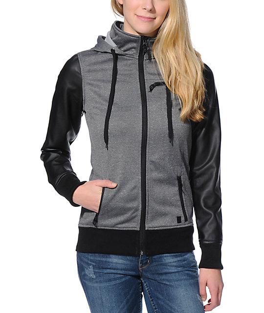 Empyre Girl Cici Charcoal & Black PU Tech Fleece Jacket | Zumiez