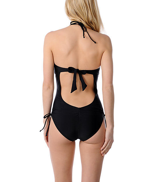 Empyre Glance Black Solid One Piece Swimsuit