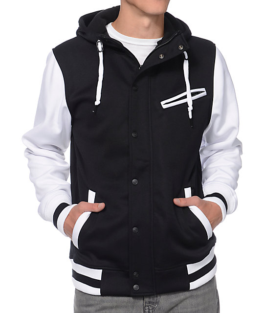 Empyre Go Team Black & White Varsity Tech Fleece Hooded Jacket