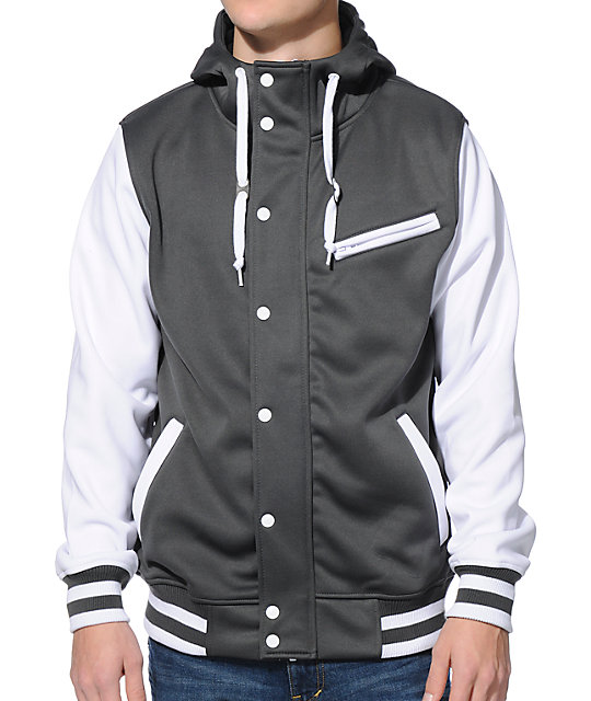 Empyre Go Team Charcoal & White Varsity Tech Fleece Hooded Jacket