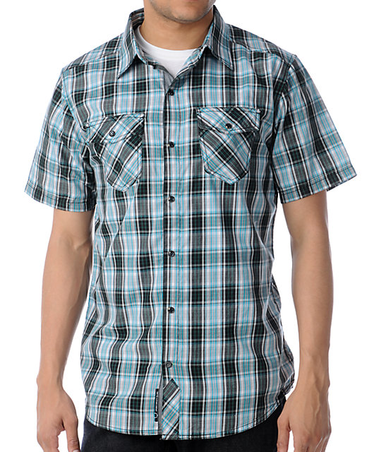 Empyre Grass Fed Black & Teal Plaid Button Up Shirt