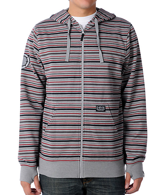 Empyre Gravity Grey & Red Striped Zip Up Hoodie