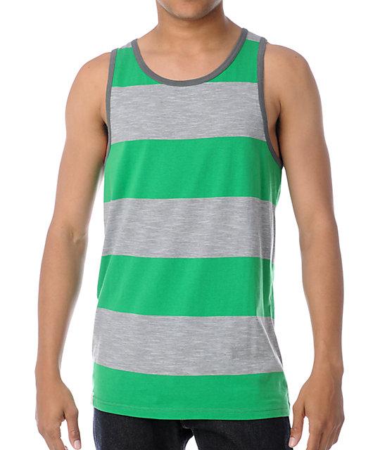 Empyre Grid Grey & Green Stripe Tank Top