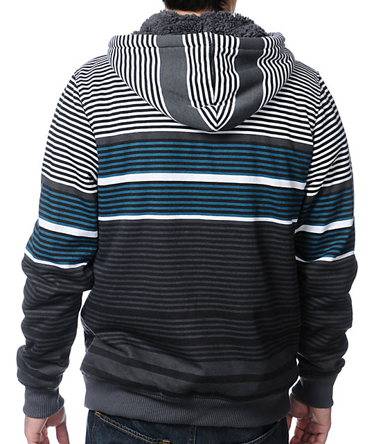 Empyre Gunner Grey Stripe Zip Up Hoodie