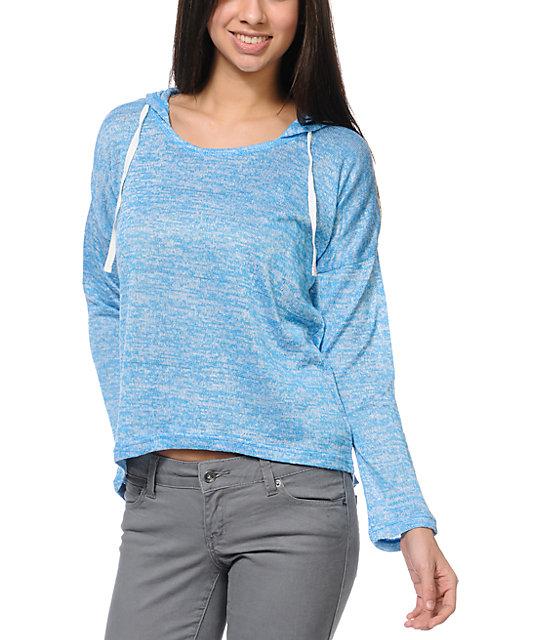 Empyre Hacci Neon Blue Knit Pullover Hoodie | Zumiez