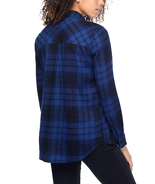 Empyre Hadley Black & Navy Plaid Button Up Flannel Shirt