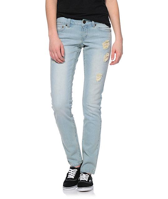 Empyre Hannah Distressed Crochet Light Bleach Skinny Jeans