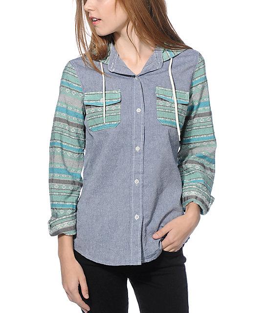 Empyre Hanover Jacquard Stripe Denim Hooded Shirt