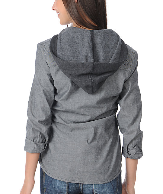 Empyre Harbor Chambray Hooded Woven Shirt