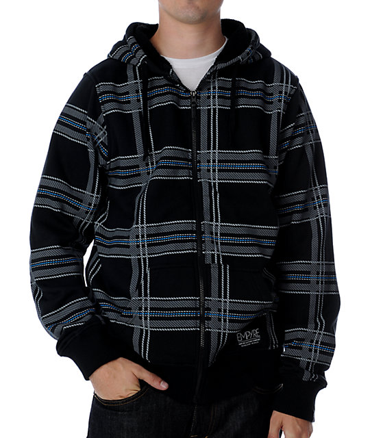 Empyre Hateration Black Plaid Sherpa Hoodie