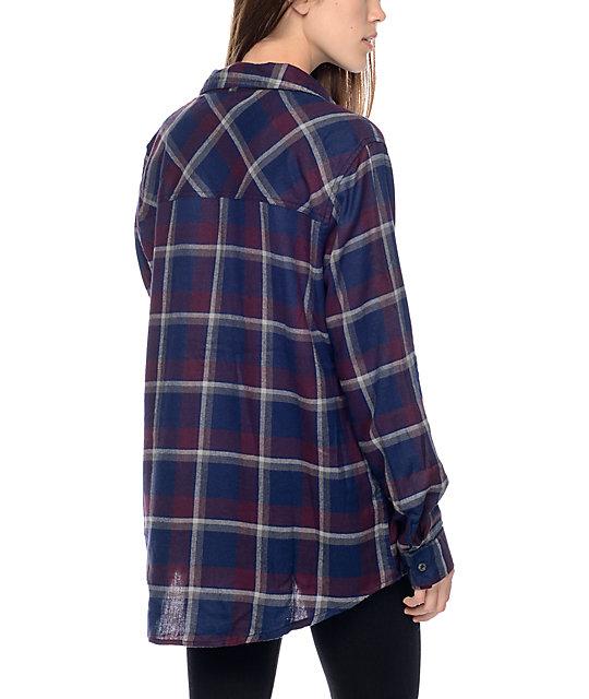 Mens Purple Plaid Flannel Shirt