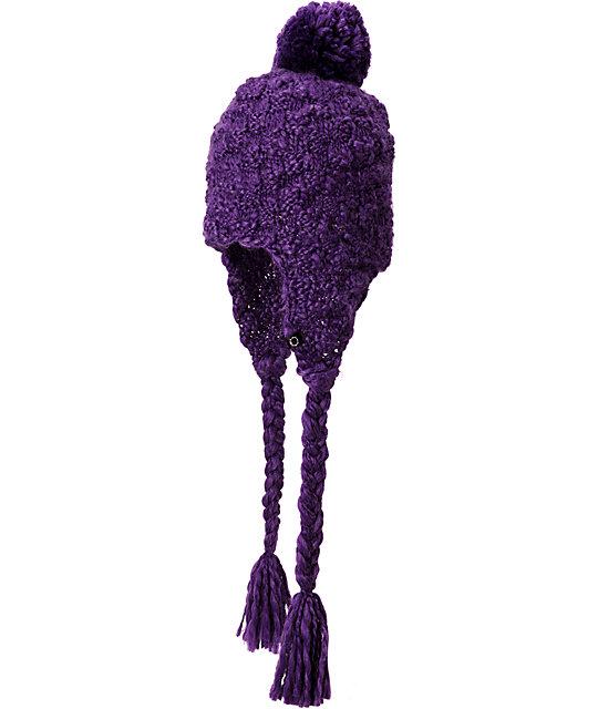 Empyre Hazel Purple Earflap Pom Beanie