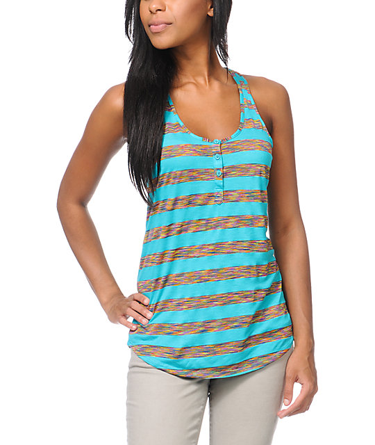 Empyre Henley Teal Stripe Tank Top