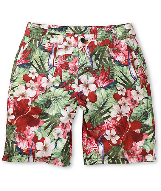 Empyre Herbaceous Red Floral Print Hybrid Shorts