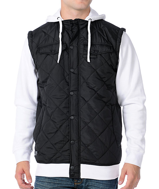 Empyre Highland Black & White Quilted Vest Hoodie