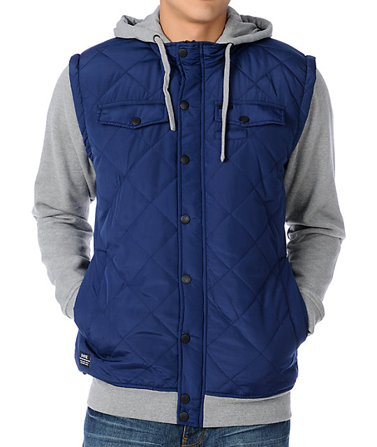 Empyre Highland Navy & Grey Quilted Vest Hoodie