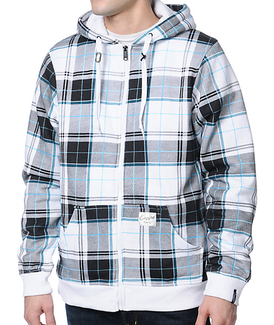 Empyre Hillside White & Grey Plaid Zip Up Hoodie