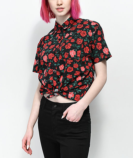 Empyre Hilo Roses Tie Front Short Sleeve Button Up Shirt by Empyre