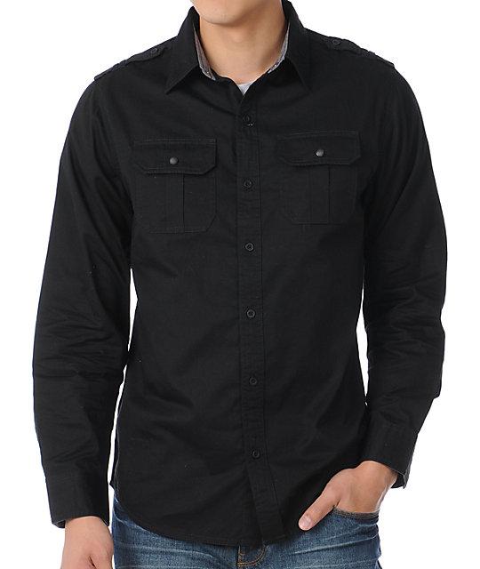 Empyre Holla Day Black Woven Shirt