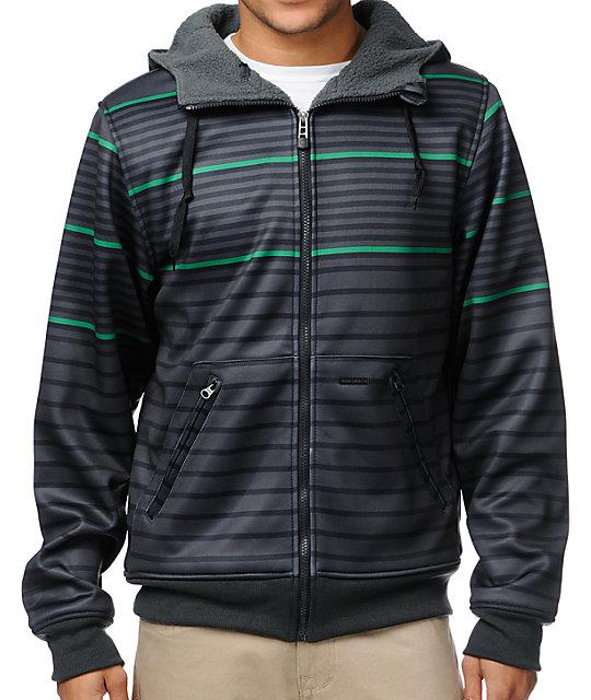 Empyre Hollis Black & Green Striped Tech Fleece Jacket