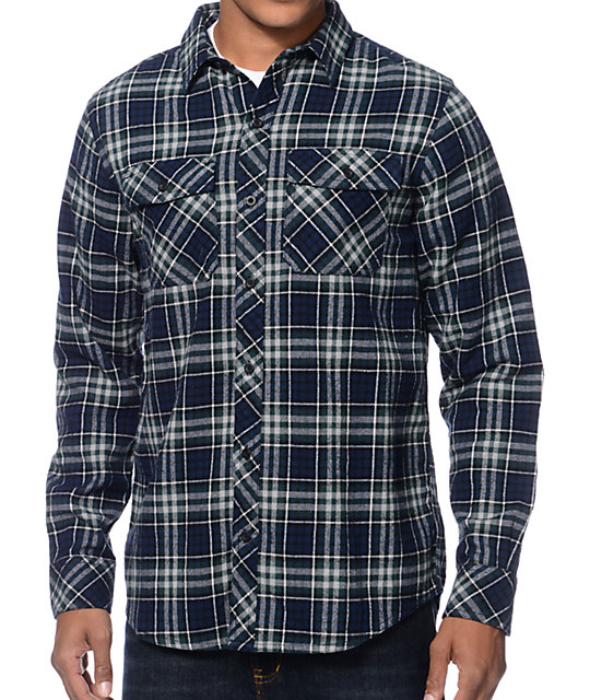 Empyre huntin navy green plaid long sleeve flannel shirt for Green and black plaid flannel shirt