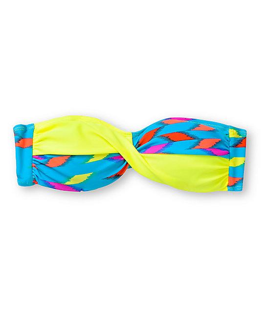 Empyre Huntington Ikat Neon Twist Bandeau Bikini Top