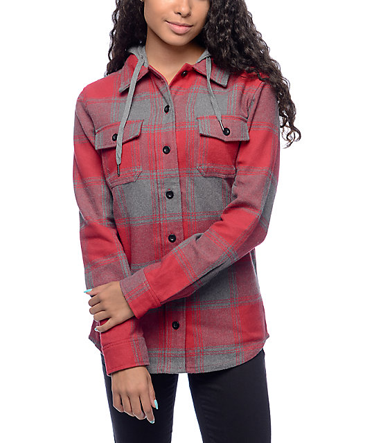 Empyre Hutchinson Red & Charcoal Hooded Flannel Shirt