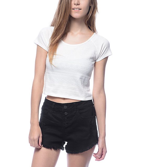 empyre ida stretch white crop t shirt
