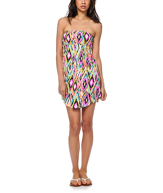 Empyre Ikat Multicolor Tribal Print Strapless Dress