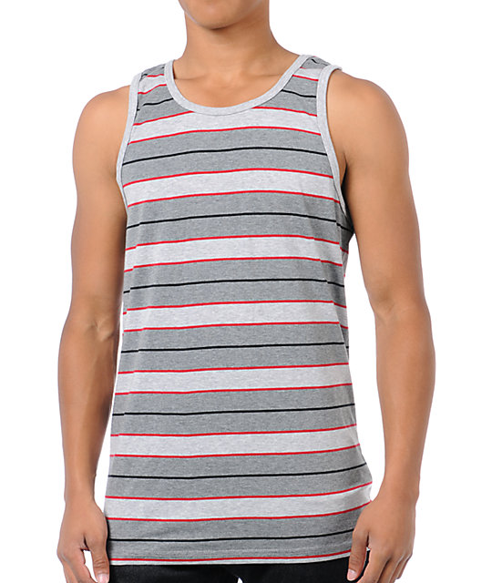 Empyre Infrared Grey Striped Tank Top