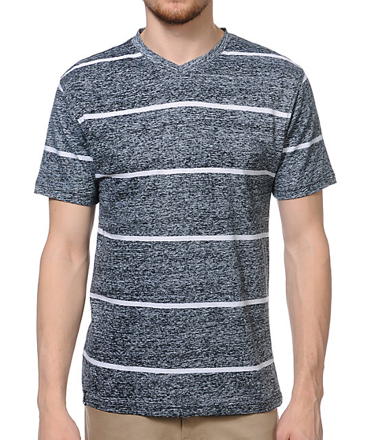 Empyre Ink Jet Black Striped Knit T-Shirt