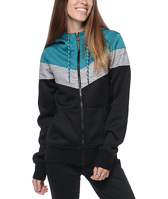 Empyre Insignia Teal, White & Black Chevron Tech Fleece Hoodie