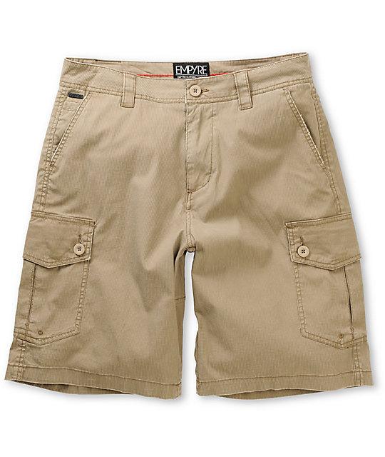 Empyre Insurgent Khaki Cotton Dobby Cargo Shorts