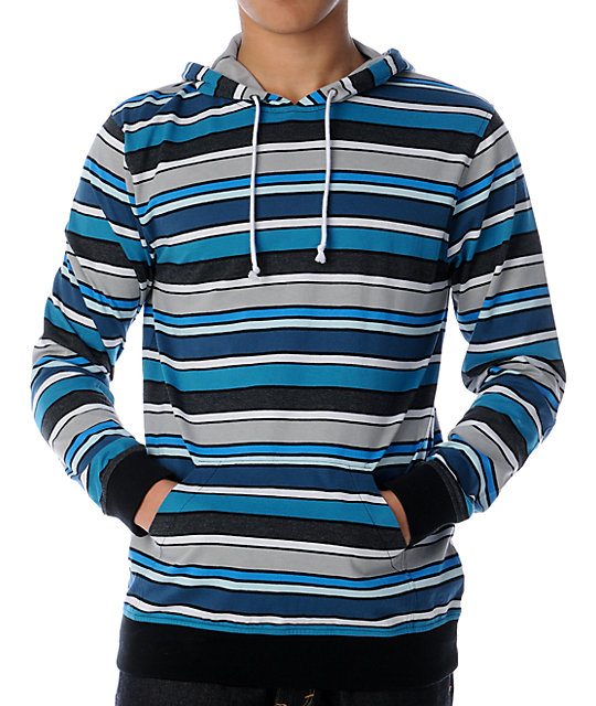 Empyre Invader Turquoise Stripe Knit Pullover Hoodie