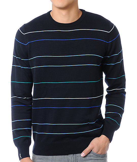 Empyre Invaders Black Striped Crew Neck Sweater