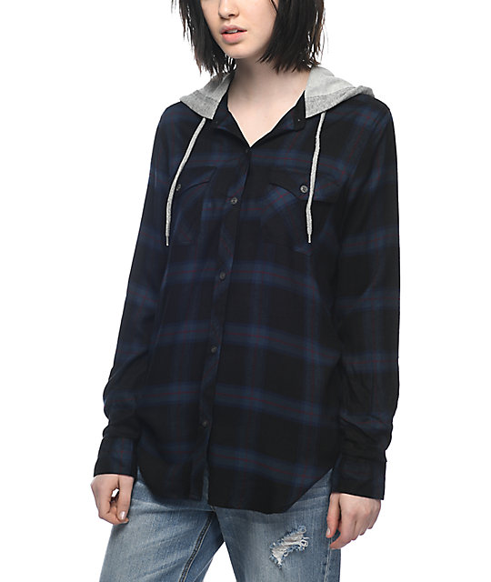 Empyre Jai Black, Navy & Burgundy Hooded Flannel by Empyre